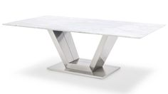 Gray and White Mable Brushed Stainless Steel Port Coffee Table | Zuri Furniture #ZuriFurniture