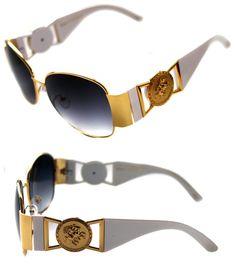 592659071b00c Medusa Metal Gold Logo White Gold Aviator Sunglasses Vintage Hip Hop Rapper