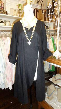 Tina Givens Penelope Shirt in Black    www.fb.com/mimibellafinelinenwear