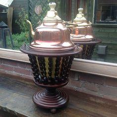 Online veilinghuis Catawiki: Brocante thee stoof met koperen ketel