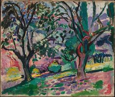 Henri Matisse, Olive Trees at Collioure, 1906, oil on canvas, 44.5 x 55.2cm  Painted in Collioure, a scenic town on the Mediterranean coast that drew many painters in the early years of the twentieth century, Promenade among the Olive Trees is one of the earliest and most important paintings of Matisse's Fauve period