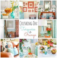 aqua and orange kitchen | Crushing on: Turquoise & Orange