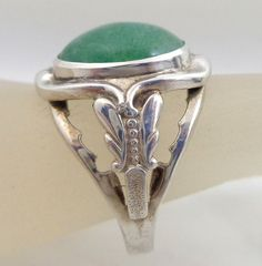 Estate Sterling Silver Aventurine Nouveau Butterfly Ring Sz 8 from riverroadcollectibles on Ruby Lane