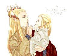 Thranduil & Legolas in Mirkwood! No tengo idea de quien hizo esto pero lo adooroo! El hijo y su Ada.