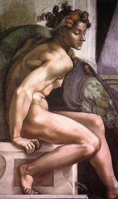 Ignudo, Artist: Michelangelo Completion Date: Style: High Renaissance Series: Sistine Chapel Paintings Michelangelo, Renaissance Kunst, Italian Renaissance, Pierre Auguste Renoir, Sistine Chapel Ceiling, Italian Art, Old Master, Western Art, Art And Architecture