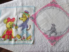 Children Handkerchiefs 2 Designs Fox with Bear, and Cowboy by LuRuUniques on Etsy