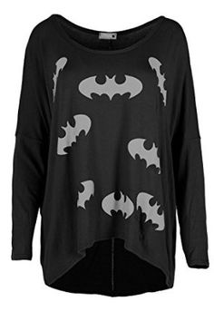 Be Jealous Women's Off The Shoulder Batman Oversized HiLo Lagenlook T Shirt at Amazon Women's Clothing store: