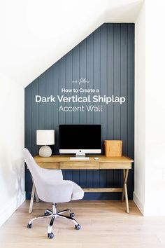 Learn how to create a dark vertical shiplap accent wall, painted with Benjamin Moore Hale Navy. Learn how to create a dark vertical shiplap accent wall, painted with Benjamin Moore Hale Navy. Navy Accent Walls, Accent Walls In Living Room, Accent Wall Bedroom, Living Room Paint, Ship Lap Accent Wall, Chevron Walls, Living Rooms, Painting Shiplap, Painting Accent Walls