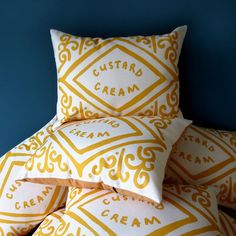 Custard Cream Printed Cushion by nikkimcwilliams on Etsy