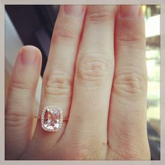 Rose gold engagement ring. Simple and pretty. Take away the ones around the big one and its gorgeous.