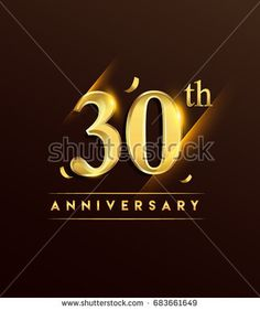 30th anniversary glowing logotype with confetti golden colored isolated on dark background, vector design for greeting card and invitation card.
