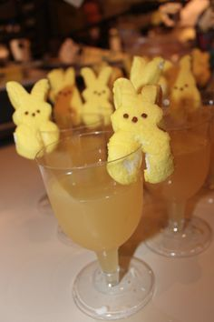 Peep Martini  Pinnacle Whipped Vodka Pineapple Orange Juice Banana Liqueur  Ice Peep Marshmallows   1. Combined vodka, juice and banana liqueur in shaker over ice.  2. Pour into martini glass. 3. Garnish with a marshmallow peep!