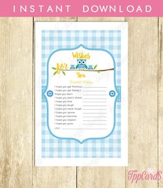 Wishes For Baby Boy Instant Download Baby Shower Games Owl Icebreaker Pretty Printables New Mom To Be DIY Guess The Party Pink by TppCardS #tppcards