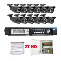 """Professional 16 Channel H.264 DVR with 12 x 1/3"""" SONY CCD Cameras, 560 TV Lines, 23PCs IR LEDs. iPhone and VGA support, Central Management System (2T HDD) by Gw. $1420.00. Package includes:      GW9016V - 16 channel network DVR with 2T HDD;     CD with manual and software;     12 x GW636H - 1/3"""" SONY CCD Camera;     1 x GW500RG59: 500 Feet RG59 Siamese Power/Video Combo Cable;     GW1218-10A: 1 x 18 ports power box;     12 x Power pigtail (GW082);     24 x GW10009: Twis..."""