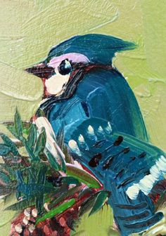 Blue Jay and Jack Pine Original Bird Oil Painting by Angela Moulton ACEO Art #Art #Impressionism