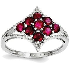 Sterling Silver Rhodium-plated Cluster of Round Ruby Ring ($65) ❤ liked on Polyvore featuring jewelry, rings, rhodium plated ring, sterling silver jewellery, cluster ring, ruby jewelry and cluster jewelry