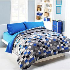 Mainstays Microfiber Comforter Printed Grey Mosaic/Blue Morpho