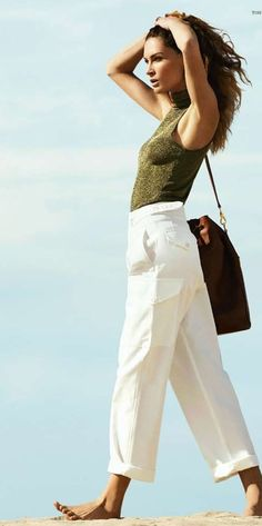 Spring Fashion Editoiral: Erin Wasson in Harper's Bazaar Russia wears the white military-inspired wide leg pant from Ralph Lauren Collection