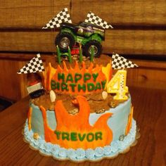 2 tier monster truck birthday cake