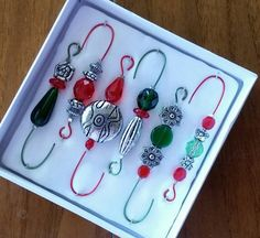 Beaded Ornament Hangers - Antique Silver with Red and Green Beads on Red and Green Wire - Gifts on the Go - FREE SHIPPING