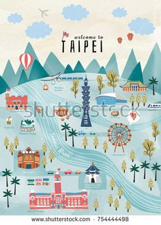 Illustration about Lovely Taiwan travel concept, hand drawn style illustration with famous attractions in Taipei. Illustration of concept, lantern, flag - 103973182 Leaflet Design, Map Design, Taiwan Image, Taipei Travel, Travel Illustration, Flat Illustration, Framed Canvas Prints, Illustrations And Posters, Travel Posters