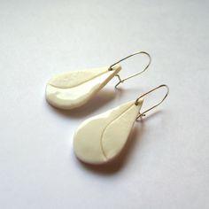 white porcelain drops earrings