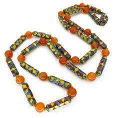 VINTAGE ART DECO BOHEMIAN ELECTRIC DRAGONS BREATH GREY GLASS BEAD NECKLACE | Clarice Jewellery