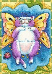 These early spring days bring out the Catterflies. They love to soak up the rays with their ladybug friends. Original Fantasy Feline Art Susan Brack EBSQ