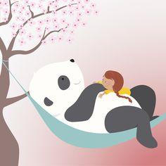 Avondster: illustratie meisje met panda in hangmat - Avondster: illustration girl with panda in hammock Graphic Design Studios, Illustration Girl, Panda Bear, Hammock, Doodles, Printable, Fictional Characters, Inspiration, Pandas