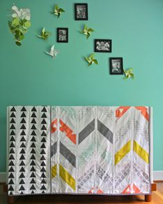 twin herringbone and triangle quilt