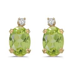 14k Yellow Gold Oval Peridot And Diamond Earrings * To view further for this item, visit the image link. #XmasWomenClothing