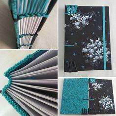 Caderno A5 azul e preto com costura copta etíope, e cabeceado copta. #papeliebrasil #papelandocomamor #encadernaçãoartesanal #copta #cabeceadocopta #bookbinding #compredequemfaz #fuieuquefiz