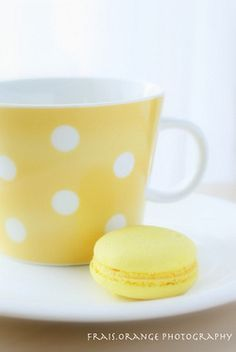 Yellow polka dots tea cup and macaron Pastel Yellow, Lemon Yellow, Shades Of Yellow, Mellow Yellow, Color Yellow, Yellow Theme, Bright Yellow, Pastel Colors, Paint Colors
