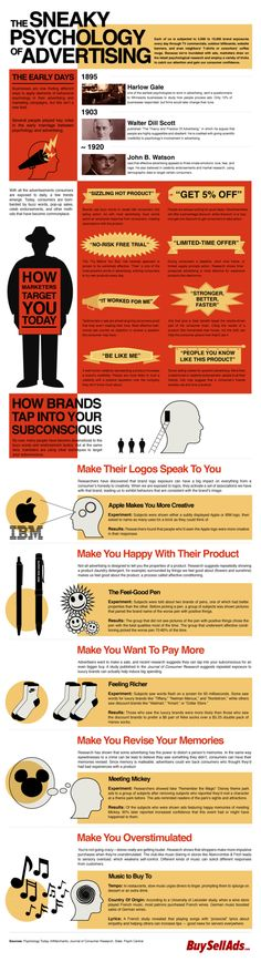 Tapping into the subconscious? Yes, marketing aims to do that. Here are some great pieces of info and tips about the psychology behind marketing and advertising. Strategisches Marketing, Marketing Musical, Marketing And Advertising, Business Marketing, Content Marketing, Online Marketing, Social Media Marketing, Internet Marketing, Radio Advertising