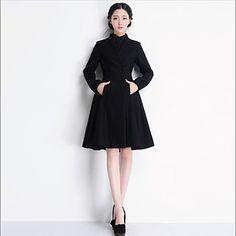 la moda con scollo a V in cotone doppio falso di media lunghezza in lana ts delle donne cappotto - EUR € 33.00