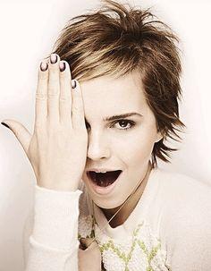 Emma Watson - Actress    I love her nails!    **flicked short hair style