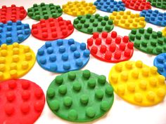 Building Block Pattern Fondant Cupcake Toppers