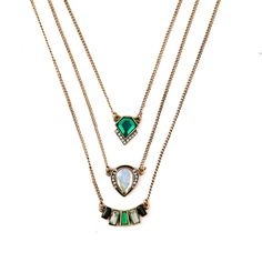 Fashion Personality Geometric Imitation Emerald Pendant Three Layers  Necklace Like and share! Get it here