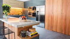 Brick and glass splashback and those timber cupboards! The Block Kitchen Reno, New Kitchen, Kitchen Dining, Kitchen Ideas, The Block Glasshouse, Kyal And Kara, Natural Kitchen, Exposed Brick, Glass House