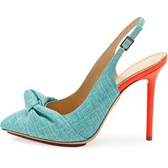 Ava Canvas Slingback Pump in Turquoise | Charlotte Olympia