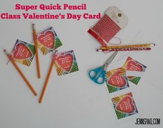 FREE Printable - Super Quick Pencil Class Valentine's Day Card to take to your classroom Valentine's Day parties. It's inexpensive and adorable! #valentinesday #printable