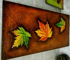 Más de 25 ideas increíbles sobre Cuadros en relieve en Pinterest ... Mural Wall Art, Wall Art Sets, Art Beat, Copper Art, Art Corner, Leaf Art, Diy Canvas, Easy Paintings, Fabric Painting