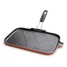 Poêle grill en fonte émaillée avec poignée retractable 36x20 cm induction Tradition Gril