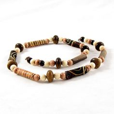 Beaded Necklace Gift for Her Fiber Necklace Textile Necklace Brown... (€28) ❤ liked on Polyvore featuring jewelry, necklaces, brown necklace, beaded jewelry, summer necklace, textile jewelry and brown jewelry