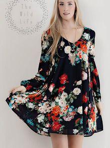 Black Cut Out Back Floral Dress US$23.09