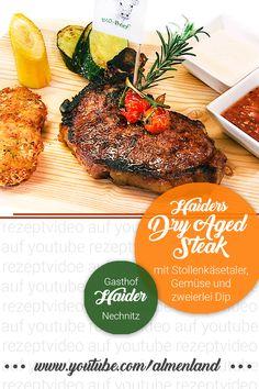 Für alle Steak-Liebhaber gibt es das eigene Dry Aged Steak beim Gasthof Haider in Nechnitz - oder einfach selbst probieren mit Stollenkäsetaler, Gemüse und Dips. #almenland #almogenusswirt #almenlandkulinarik  Unsere ALMO-Genusswirte im Naturpark Almenland verraten ihr Lieblingsgericht - einfach Video ansehen und nachkochen - Mahlzeit! Steaks, Dry Aged Steak, Beef Steak, Dips, Pineapple, Fruit, Food, Meal, Easy Meals