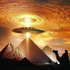 Love your art .you have good taste! Ancient Aliens, Ancient Egypt Art, Aliens And Ufos, Fantasy Landscape, Fantasy Art, Egypt Tattoo, Pyramids Of Giza, Galaxy Art, Egyptian Art