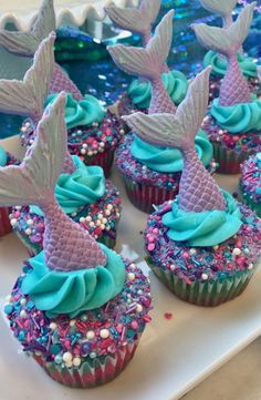 Best cupcakes I've ever made! By me!You can find Little mermaid parties and more on our website. Best cupcakes I've ever made! By me! Mermaid Birthday Cakes, Girl Birthday, Mermaid Cupcake Cake, Little Mermaid Cupcakes, Mermaid Themed Party, Mermaid Birthday Party Ideas, Mermaid Party Food, Mermaid Tail Cake, Mermaid Babyshower Ideas