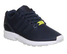 Unisex Adidas Zx Flux Navy Navy Junior Stretch