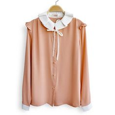 Flouncing Lapel Chiffon Shirt Pink$42.00 ($42) via Polyvore